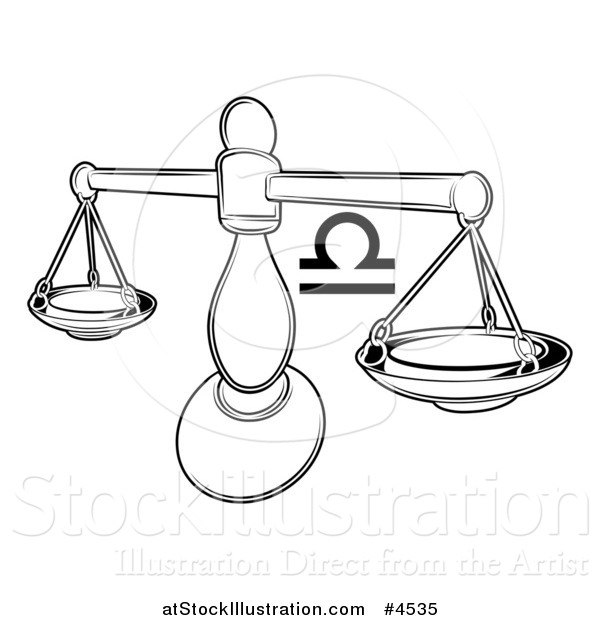 Vector Illustration of a Black and White Astrology Zodiac Libra Scales and Symbol