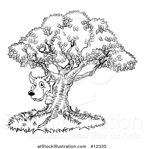 Vector Illustration of a Black and White Bad Wolf Peeking from Behind a Tree, the Three Little Pigs Story