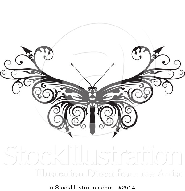 Vector Illustration of a Black and White Barbed Moth or Butterfly