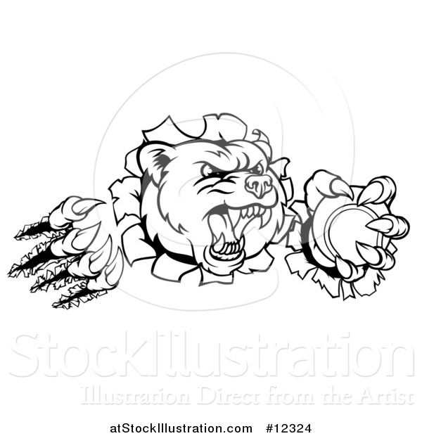 Vector Illustration of a Black and White Bear Mascot Slashing Through a Wall with a Tennis Ball in a Paw