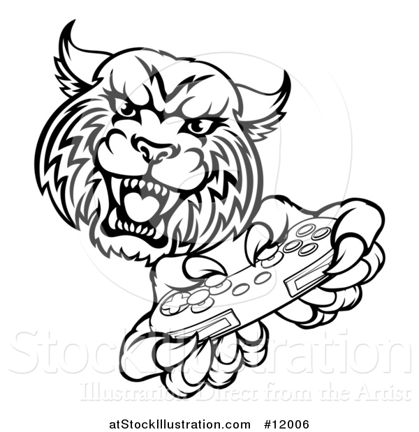 Vector Illustration of a Black and White Bobcat Mascot Playing a Video Game