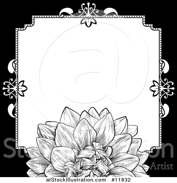 Vector Illustration of a Black and White Border or Wedding Invitation with a Flower