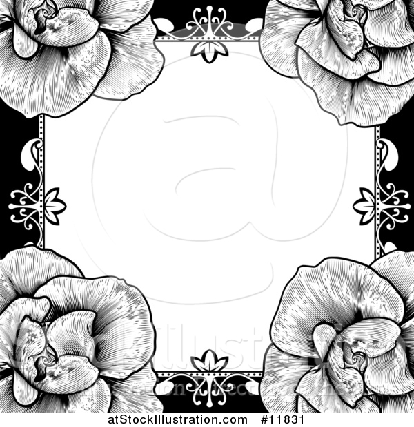 Vector Illustration of a Black and White Border or Wedding Invitation with Roses
