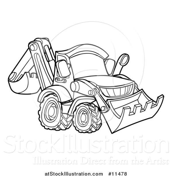 Vector Illustration of a Black and White Bulldozer