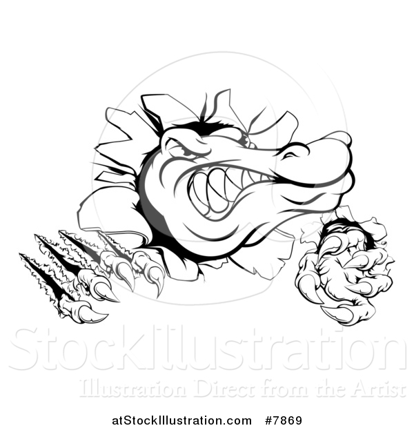 Vector Illustration of a Black and White Cartoon Alligator or Crocodile Monster Slashing Through a Wall