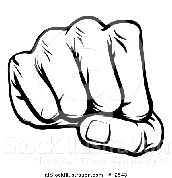 Vector Illustration of a Black and White Cartoon Fist Punching