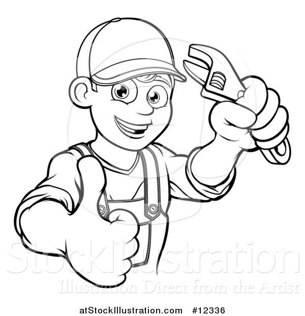 Vector Illustration of a Black and White Cartoon Happy Male Plumber Holding an Adjustable Wrench and Giving a Thumb up