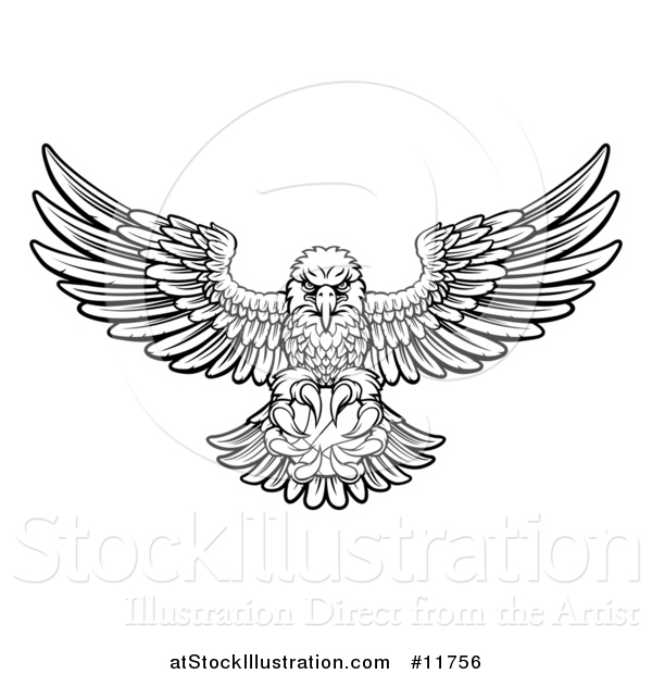 Vector Illustration of a Black and White Cartoon Swooping American Bald Eagle with a Basketball in His Talons