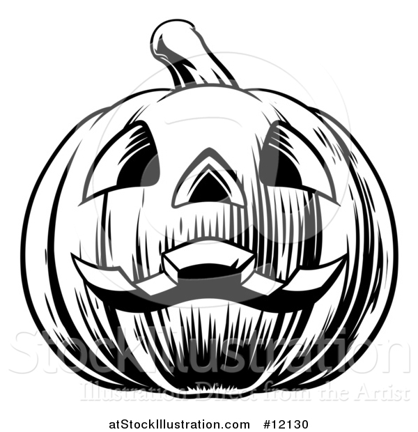 Vector Illustration of a Black and White Carved Halloween Jackolantern Pumpkin