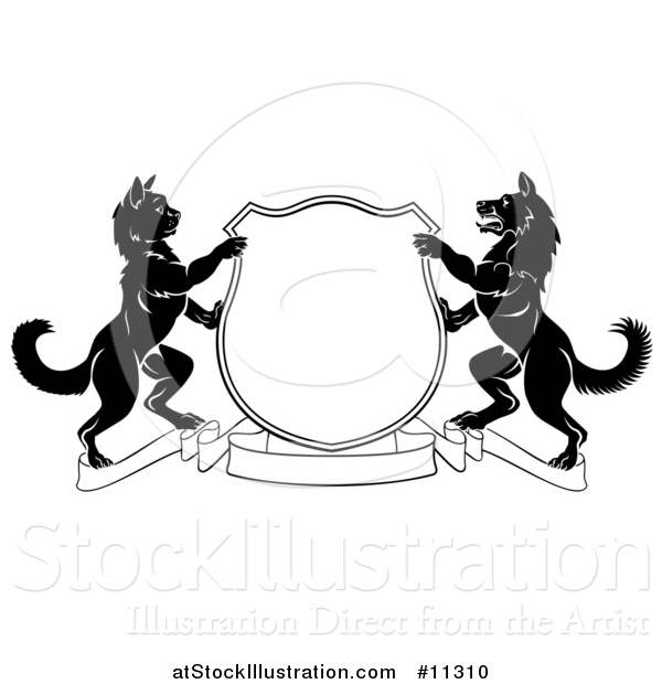 Vector Illustration of a Black and White Cat and Dog Heraldic Coat of Arms Shield