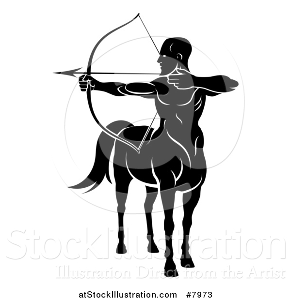 Vector Illustration of a Black and White Centaur Archer, Half Man, Half Horse, Aiming to the Left