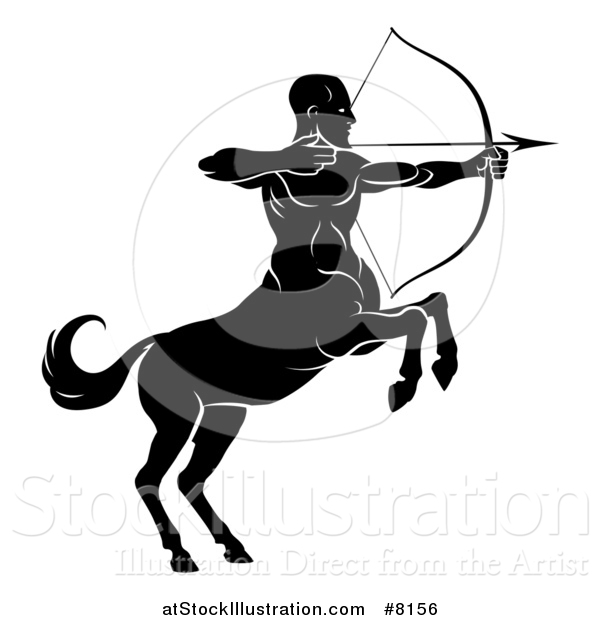 Vector Illustration of a Black and White Centaur Archer, Half Man, Half Horse, Aiming to the Right