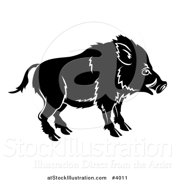 Vector Illustration of a Black and White Chinese Zodiac Boar in Profile