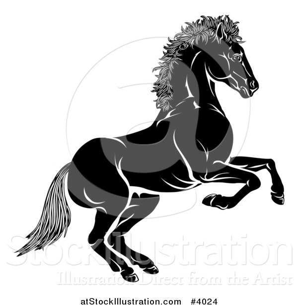 Vector Illustration of a Black and White Chinese Zodiac Horse in Profile