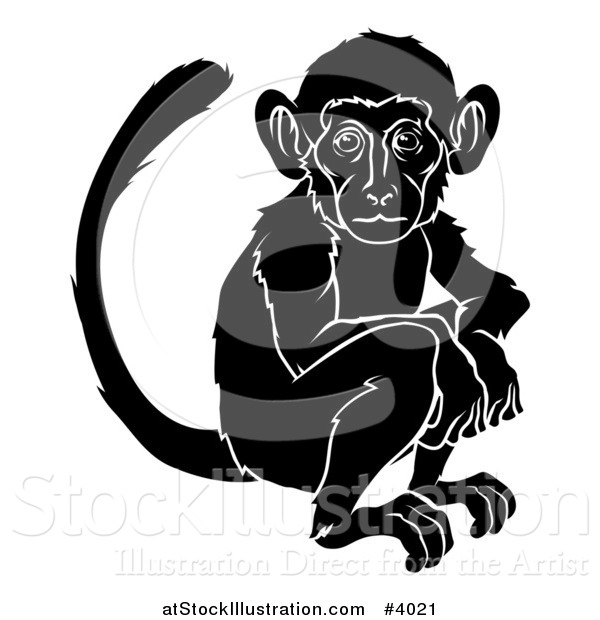Vector Illustration of a Black and White Chinese Zodiac Monkey
