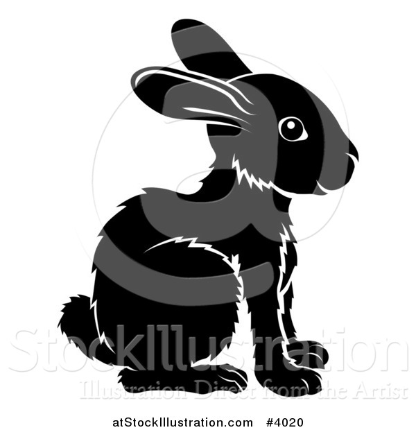 Vector Illustration of a Black and White Chinese Zodiac Rabbit in Profile