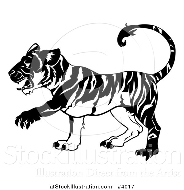 Vector Illustration of a Black and White Chinese Zodiac Tiger in Profile