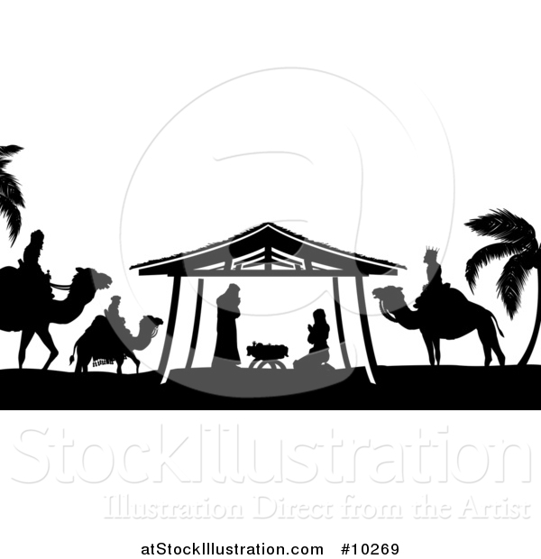 Vector Illustration of a Black and White Christmas Nativity Scene of Baby Jesus, Mary and Joseph in the Manger, with the Magi Wise Men