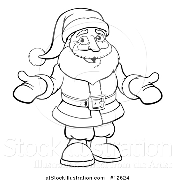Vector Illustration of a Black and White Christmas Santa Claus Wearing Mittens