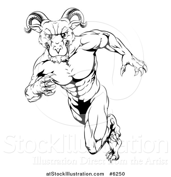 Vector Illustration of a Black and White Clawed Muscular Ram Monster Man Running Upright