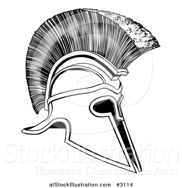 Vector Illustration of a Black and White Corinthian Trojan Spartan Romangreek Helmet