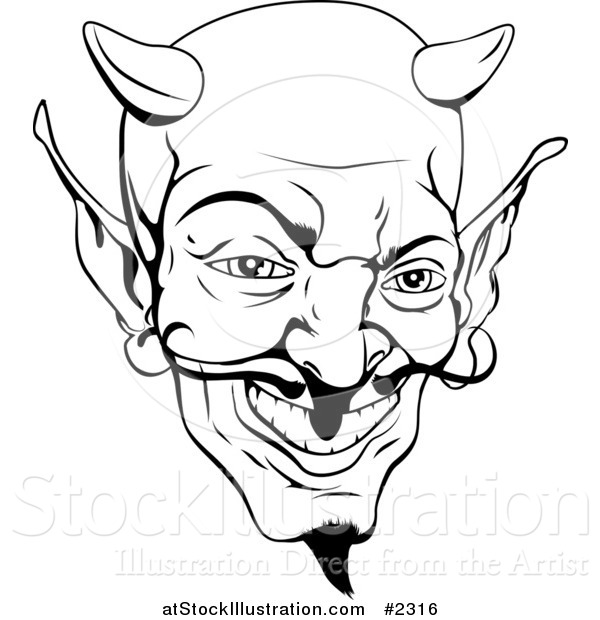 Vector Illustration of a Black and White Devil Face