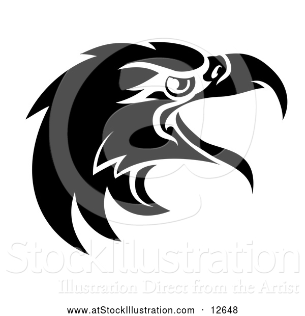 Vector Illustration of a Black and White Eagle Mascot Head