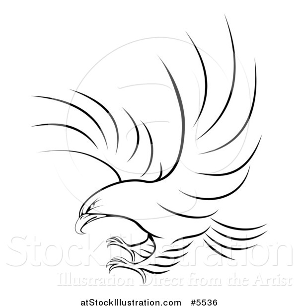 Vector Illustration of a Black and White Eagle Ready to Grab Prey