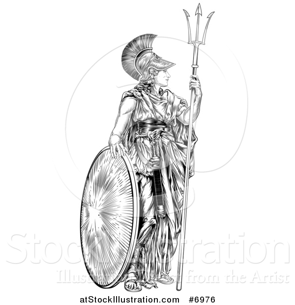 Vector Illustration of a Black and White Engraved Athena Britannia with a Trident and Shield