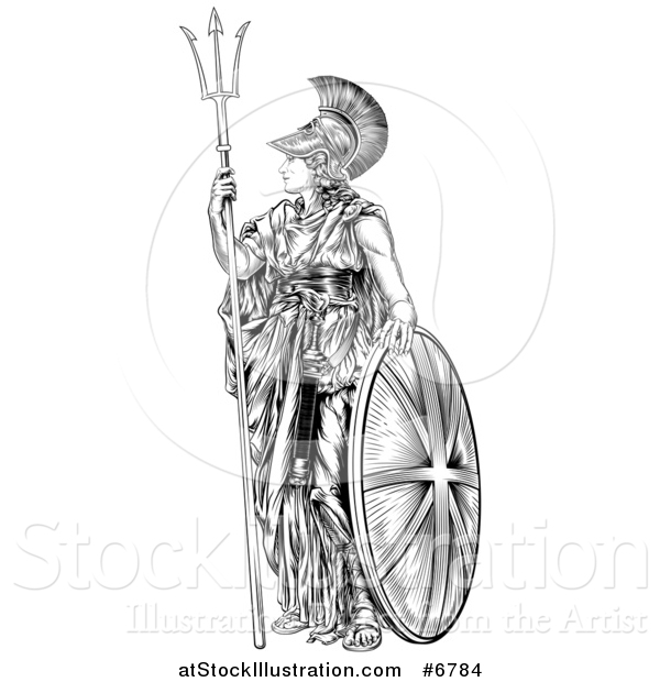 Vector Illustration of a Black and White Engraved Britannia with a Trident and Shield