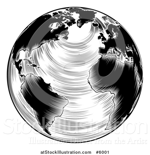 Vector Illustration of a Black and White Engraved Earth