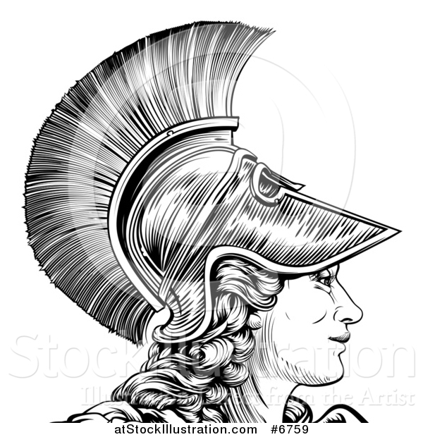 Vector Illustration of a Black and White Engraved Greek Warrior Woman Athena, Hera, or Britannia in Profile