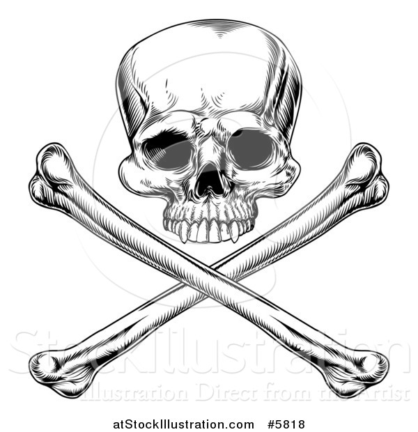 Vector Illustration of a Black and White Engraved Jolly Roger Skull and Crossbones