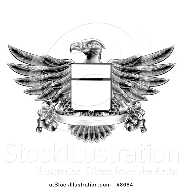 Vector Illustration of a Black and White Engraved or Woodcut Heraldic Coat of Arms American Bald Eagle with a Shield and Blank Banner