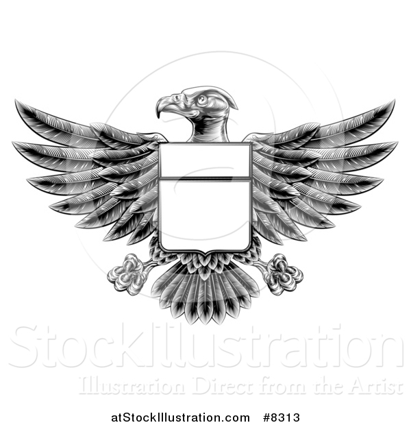 Vector Illustration of a Black and White Engraved or Woodcut Heraldic Coat of Arms American Bald Eagle with a Shield Body