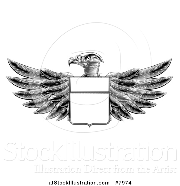 Vector Illustration of a Black and White Engraved or Woodcut Heraldic Coat of Arms American Bald Eagle with a Shield