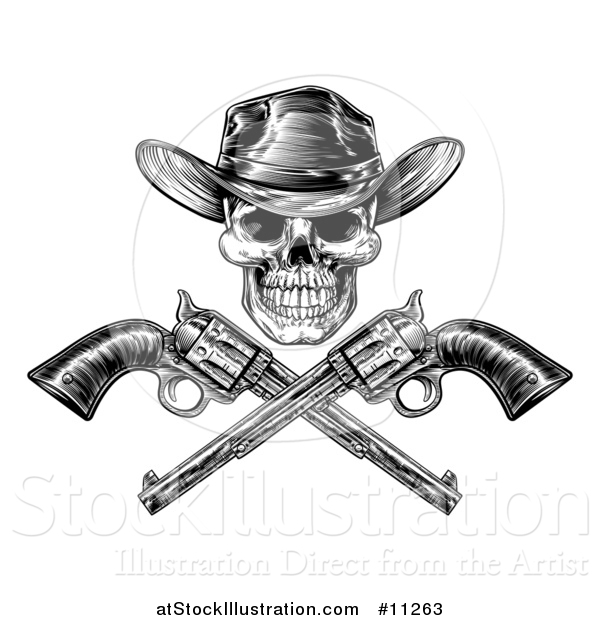 Vector Illustration of a Black and White Engraved or Woodcut Styled Cowboy Skull and Crossed Pistols