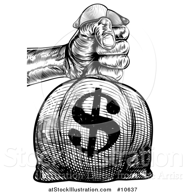 Vector Illustration of a Black and White Engraved or Woodcut Styled Hand Holding out a Burlap USD Money Bag Sack to Pay Taxes