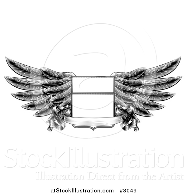 Vector Illustration of a Black and White Engraved or Woodcut Winged Shield Insignia with a Banner Scroll