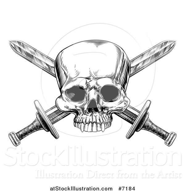 Vector Illustration of a Black and White Engraved Pirate Skull and Cross Swords