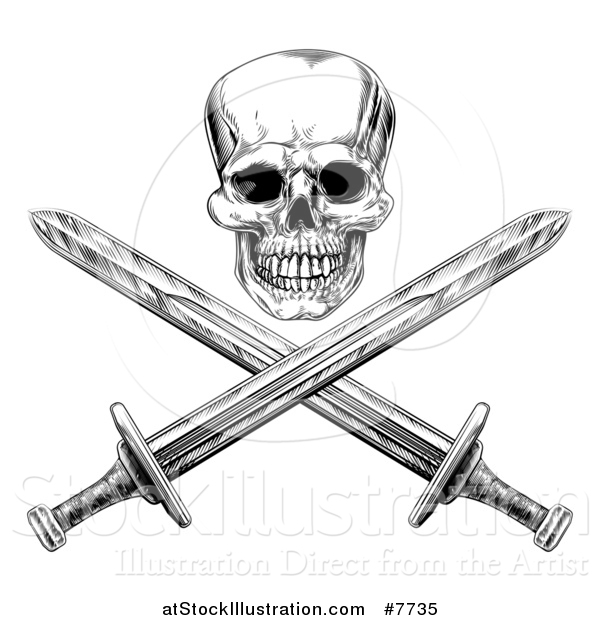 Vector Illustration of a Black and White Engraved Pirate Skull over Cross Swords