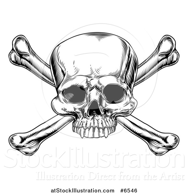 Vector Illustration of a Black and White Engraved Skull and Crossbones