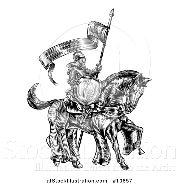 Vector Illustration of a Black and White Etched Engraved or Woodcut Fully Armored Medieval Knight on a Horse, Holding a Spear Flag