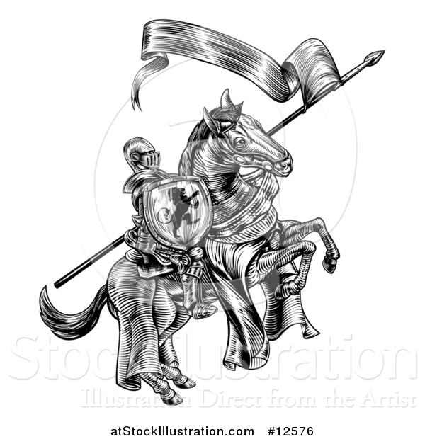 Vector Illustration of a Black and White Etched or Woodcut Medieval Knight on a Horse, Holding a Flag and Shield