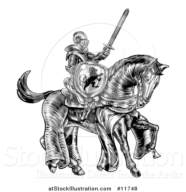 Vector Illustration of a Black and White Etched or Woodcut Medieval Knight on a Horse, Holding a Sword and Shield