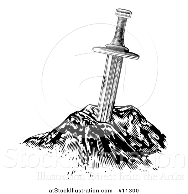 Vector Illustration of a Black and White Excalibur the Sword in the Stone