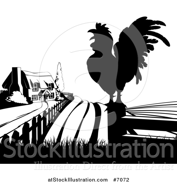 Vector Illustration of a Black and White Farm House, Silhouetted Crowing Rooster and Fields