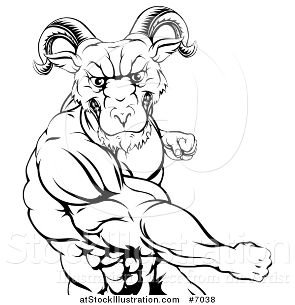 Vector Illustration of a Black and White Fierce Muscular Ram Man Punching