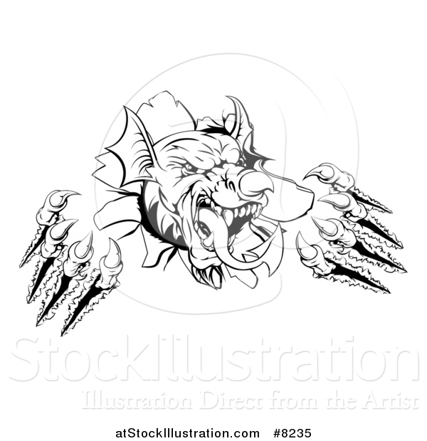 Vector Illustration of a Black and White Fierce Welsh Dragon Mascot Head Slashing Through a Wall