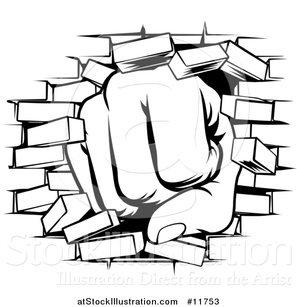 Vector Illustration of a Black and White Fist Punching Through a Brick Wall